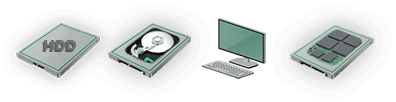 Icônes média HDD SSD Data Labcenter