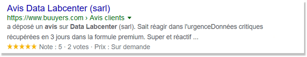 Avis Client data labcenter 5/5